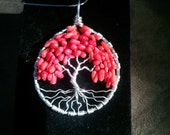 Red Coral and Sterling Silver Tree of Life Pendant  MADE TO ORDER