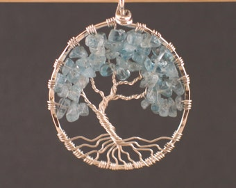 Aquamarine and Sterling Silver Tree of Life Pendant  MADE TO ORDER