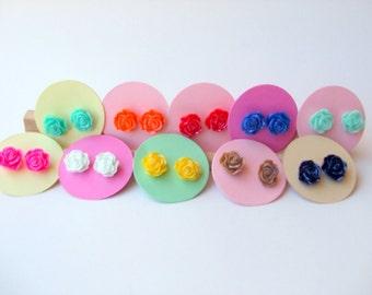 Resin Rose Earrings - Small