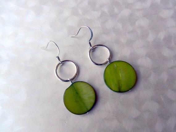 Green Apple Abalone Earrings