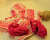 Pink Variegated Sweater and Booties for 15 or 16  inch Waldorf inspired Dolls