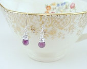 Dangle Earrings- Amethyst Drops, February Birthstone, Wire Wrapped, Semi-Precious Stone (Hypoallergenic)