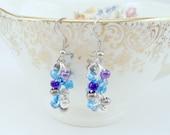OOAK Beaded Earrings- Blue, Purple, Silver, Dangle, Bottom of the Sea (Hypoallergenic)