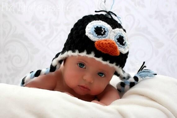 Penguin Earflap Hat CROCHET PATTERN