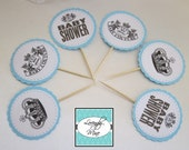 Baby Shower Cupcake Toppers - Baby Couture - Baby Blue - Set of 12