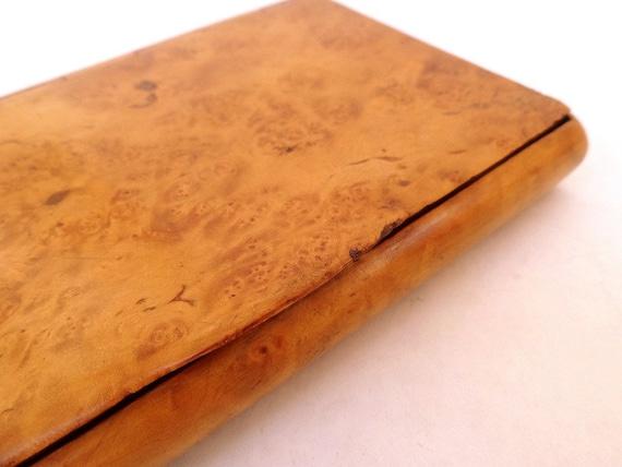 Cigarette or Business Card Case Box Vintage 1940's Tiger's Eye Maple Design