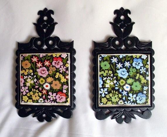 Cast Iron and Tile Flowered Trivet Set