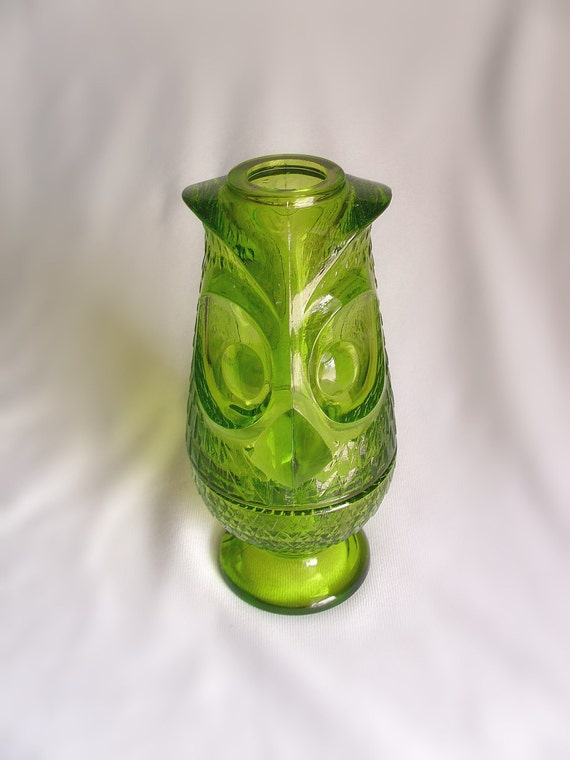 green glass candle holders green viking glass owl candle holder by poppyfandango on etsy 3984