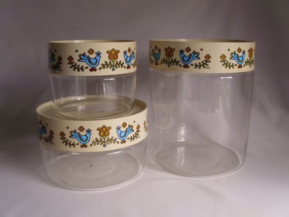 VIntage 1970's Pyrex Glass Canister Country Festive Pattern- Set of 3