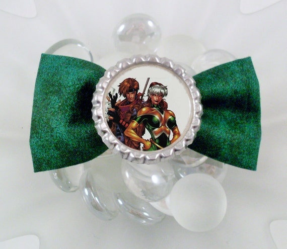 Rogue and Gambit Hair Bow (Dark Green)