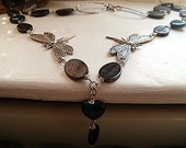 Tibetan silver butterfly, chrysocolla love hearts and mother of pearl beaded necklace