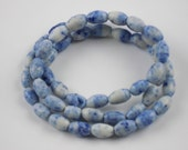 Vintage Glass Oval Beads, Blue and White Speckled ,12mm long, 8mm wide