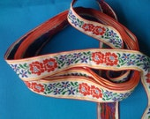 "RESERVED-for Rosita.  Vintage Woven Ribbon Flat Trim with Red and Blue Flowers 1 1/8"" wide"