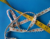 "5 yards of Lovely Cream and Orange Trim 5/8"" wide Vintage Lace, Crochet edging"