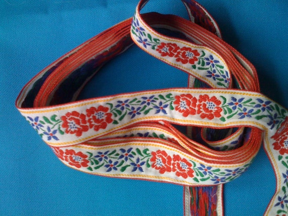 """RESERVED-for Rosita.  Vintage Woven Ribbon Flat Trim with Red and Blue Flowers 1 1/8"""" wide"""