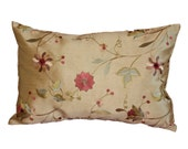 Lumbar Budoir 12 X 18 Beautiful Gold and Embroidery silk  Pillow cover
