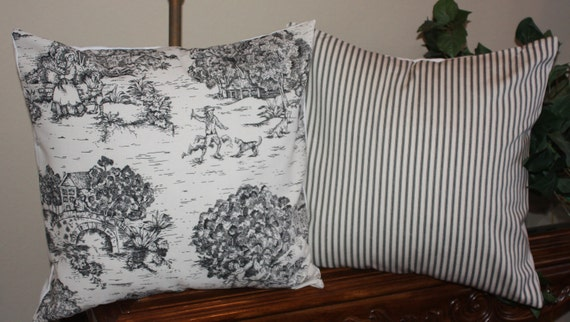 2 - 18x18 inch French Country Toile and Ticking pillow covers