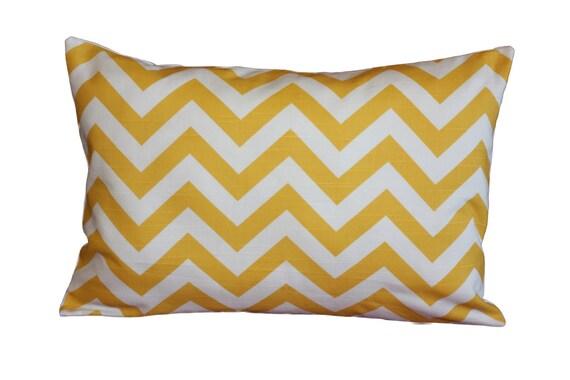 Lumbar Budoir 12 X 18 Yellow mustard Zig Zag pattern Chevron lumbar throw pillow cover  Pillow cover