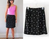 SALE Sweet Black Floral Vintage Skirt // size S  SALE
