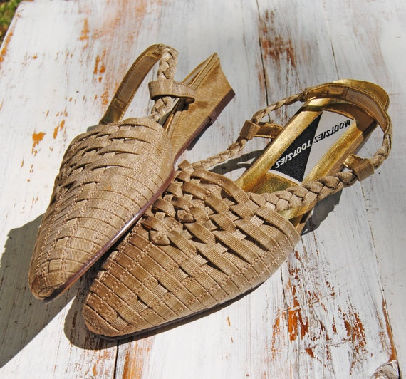 Golden Wheat Vintage Woven Wedge Slip Ons // Size 7 1/2