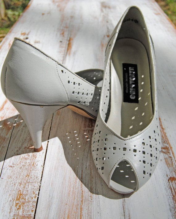 Grey Leather Cutout Peep Toe Heels // Size 6 1/2