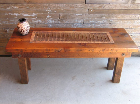 Reclaimed Wood Coffee Table Iron Grate Upscale