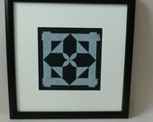 "Framed - Quilt Block Print - Original ""Woven Flower"" Design"