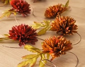 Rustic Red Flower Garland Home Decor for Fall Weddings and Autumn Woodland Birthday Parties Table Decoration - 5 feet