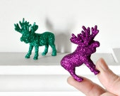 Miniature Moose Decor Colorful Emerald Green Purple Glitter Set of 2 Repurposed Table Decoration for Entertaining or Birthday Party
