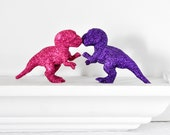 Baby T-Rex Dinosaurs in Fuchsia Hot Pink, Grape Purple Glitter Baby Shower Table Settings, Weddings, Nursery Decor or Fun Home Decorations