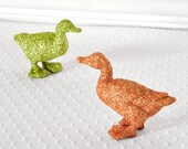 Glittered Ducks Rustic Party Decoration in Copper and Green Glitter for Farm Wedding Table Settings, Nursery Decor