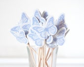RESERVED FOR cooperl788 - Custom Butterfly Cupcake Toppers Glittered Lavender for Spring Set of 48