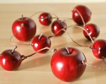 Apple Garland Home Decor Autumn Woodland Weddings or Rustic Christmas Decoration or Birthday Parties, Teacher's Gift - 4 feet-