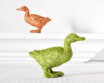 Glittered Ducks Easter Party Decoration in Copper and Green Glitter for Farm Wedding Table Settings, Birthday Parties, Nursery Decor