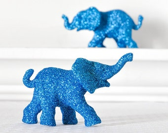 Safari Blue Elephants Baby Shower Decorations in Glitter for Boy Jungle Nursery Decor, Circus Birthdays, or Wedding Table Settings. Set of 2