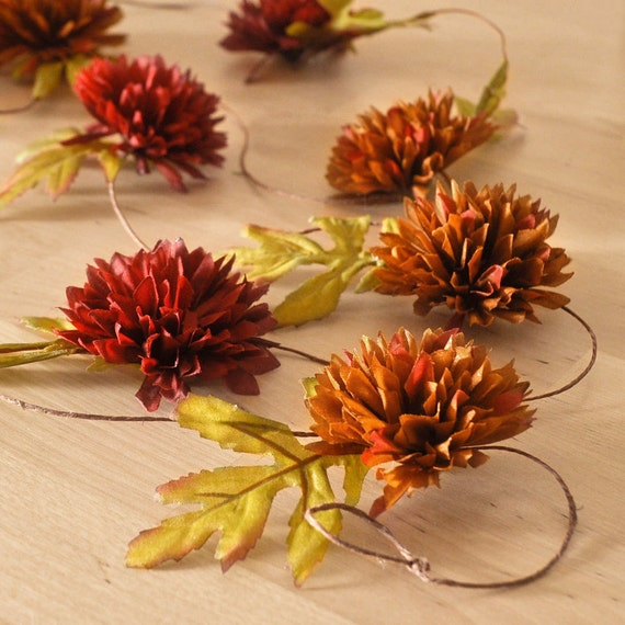 Rustic red flower garland home decor for fall weddings and for Autumn flower decoration