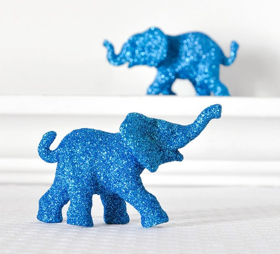 Safari Blue Elephants Baby Shower Decorations in Glitter for Boy Jungle Nursery Decor Circus Birthdays Wedding Cake Topper Keepsake Set of 2