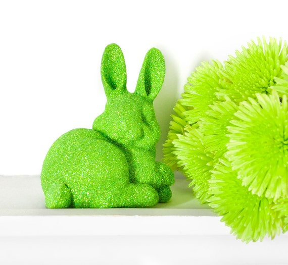 Neon Easter Bunny Rabbit Decoration in Green Glitter for Boy or Girl Nursery, Baby Shower Table Settings, Birthday Party or Home Decor