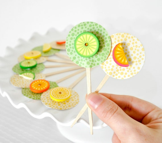 Tropical Citrus Fruit Cupcake Toppers Orange, Lime and Lemon Colorful Neon Birthday Party Decor, Weddings, Baby Showers or Summer Parties