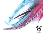 6 FEATHER HAIR EXTENSIONS- 6 Cotton Candy Medium to Long Feathers, Grizzly & Rooster
