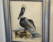 Art / Pelican / Vintage / Watercolor / Wall Hanging