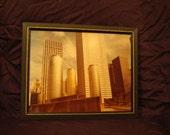 Framed Art / City Scape / Sky Scrapers / Sculpture Art / Vintage Photo