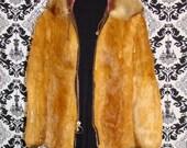 Rabbit Fur Coat / Vintage / Satin Lined / Fur trimmed Hood / Zipper Closure