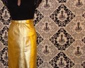 YSL Gold Leather Skirt / Vintage / Rive Gauche line / Shimmering Gold
