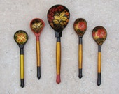 Russian Spoon / Handmade Wooden / Traditional / Red Black Gold Floral