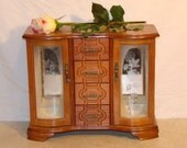 Vintage Jewelry Box Upright / Ornate Woodwork / Rose Glass Panes Etching / Drawers Hangers