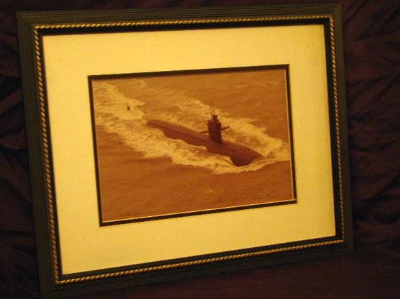 Framed Art / Navy Submarine  / USS Houston / Vintage Photo