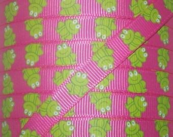 3/8 Grosgrain Ribbon - Printed Grosgrain Ribbon - 3 yards Pink Frog Ribbon - Ribbon By The Yard - Ribbon Supplies - Pink Froggie Ribbon