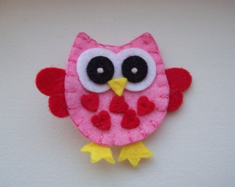 Girls Hair Accessories - Felt Hair Clips - Pink Felt Handmade Owl Hair Clippie - Hair Clip Hair Clippie - Red Heart - Pink Red Owl