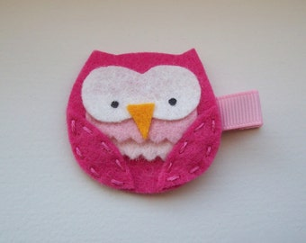 Girls Hair Accessories - Felt Hair Clips - Pink Felt Handmade Owl Hair Clippie - Hair Clip Hair Clippie - Pink Owl clipped